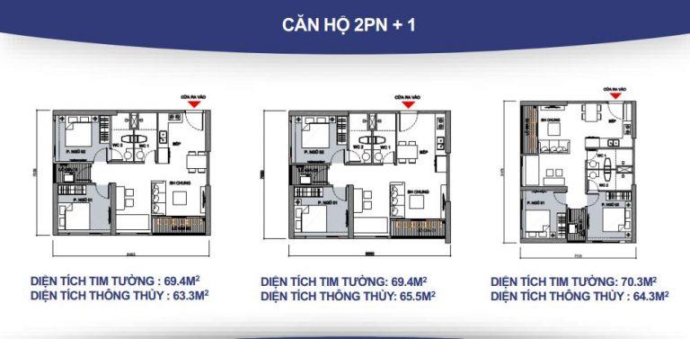 Thiết kế căn 2 phòng ngủ +1
