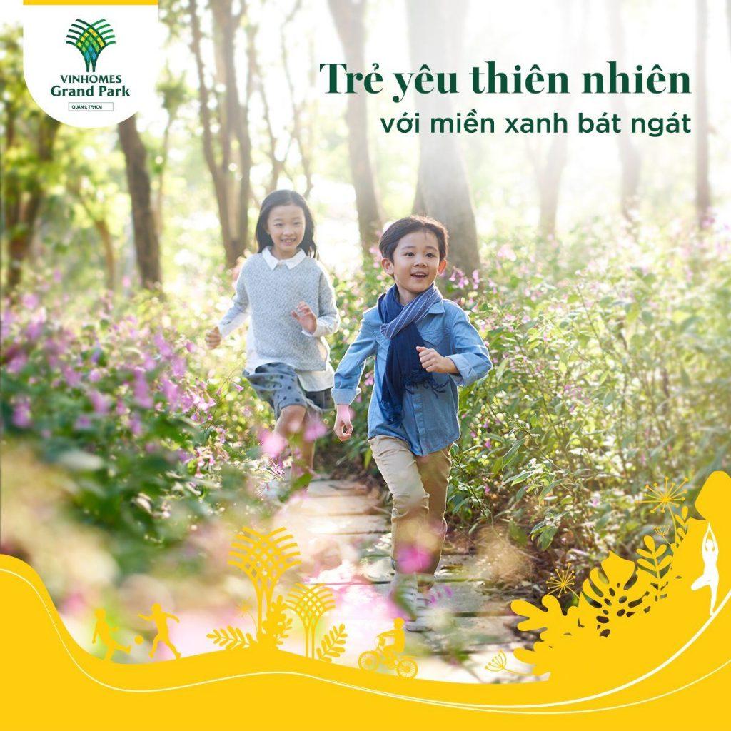 Trẻ khám phá thiên nhiên tại công viên Vinhomes Grand Park